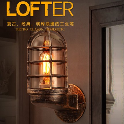 Loft Style Bedroom Wall Lamp Iron Glass Antique Edison Wall Sconce Industrial Vintage Wall Light Fixtures For Bar Home Lighting vintage wrought iron industrial wall lamp bedroom outdoor wall sconce mounted beside reading light for home decoration