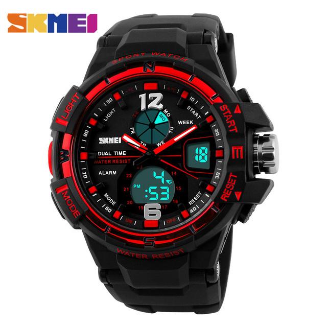 Skmei 1148 homens ao ar livre relógios desportivos dual time de luxo choque militar relógios led digital quartz relógios de pulso relogio masculino