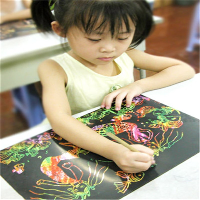 10Pcs 26x18cm Paper Painting Cardboard Scraping Children Kids learning Education Toys Hot Painting Drawing