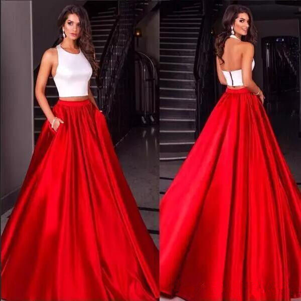 Simple Red Prom Dresses 2017 Ruched Satin Halter Ball Gown Backless Long Floor Length Evening Gowns Formal Dress vestido marsala