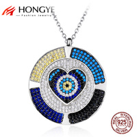 HONGYE 2017 Colorful Round Eye Statement Necklaces Pendants 925 Sterling Silver Mirco Paved Beads Heart Necklace