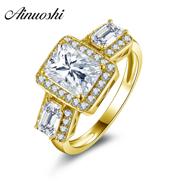 AINUOSHI 10K Solid Yellow Gold Wedding Ring 1.5 CT Rectangle Cut Simulated Diamond Anel de ouro Jewelry Women Engagemrnt Rings