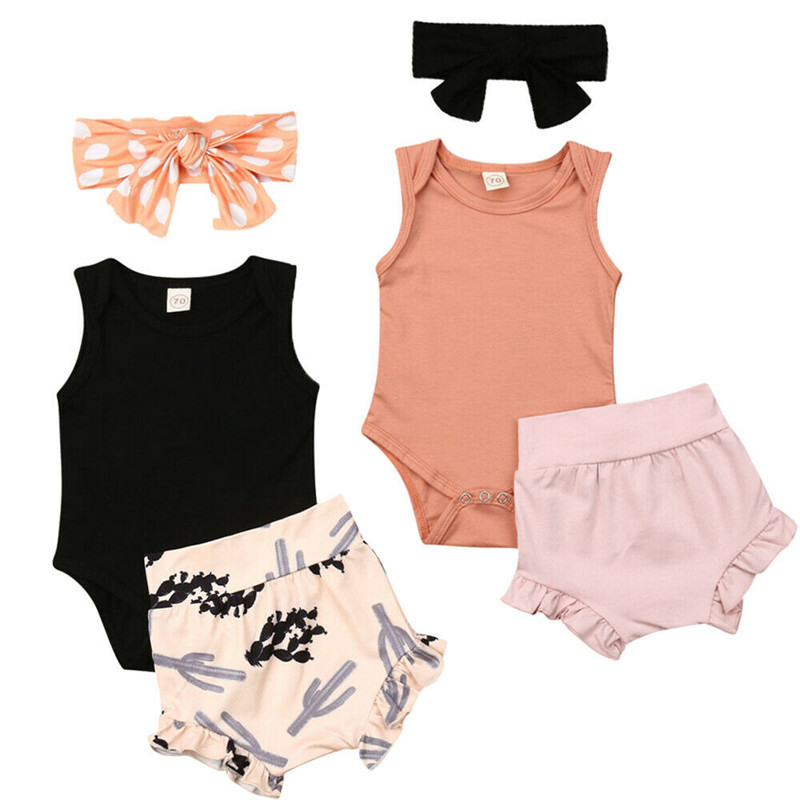 PUDCOCO US Summer Newborn Baby Girls Casual Clothes Set Cotton Solid Sleeveless Romper Short Pants Headband Outfits 3PCS 0-24M