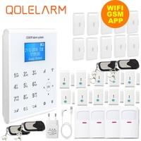 Qolelarm WI FI GSM SMS приложение Главная охранной сигнализации комплект с датчиком вибрации + магнитный датчик двери