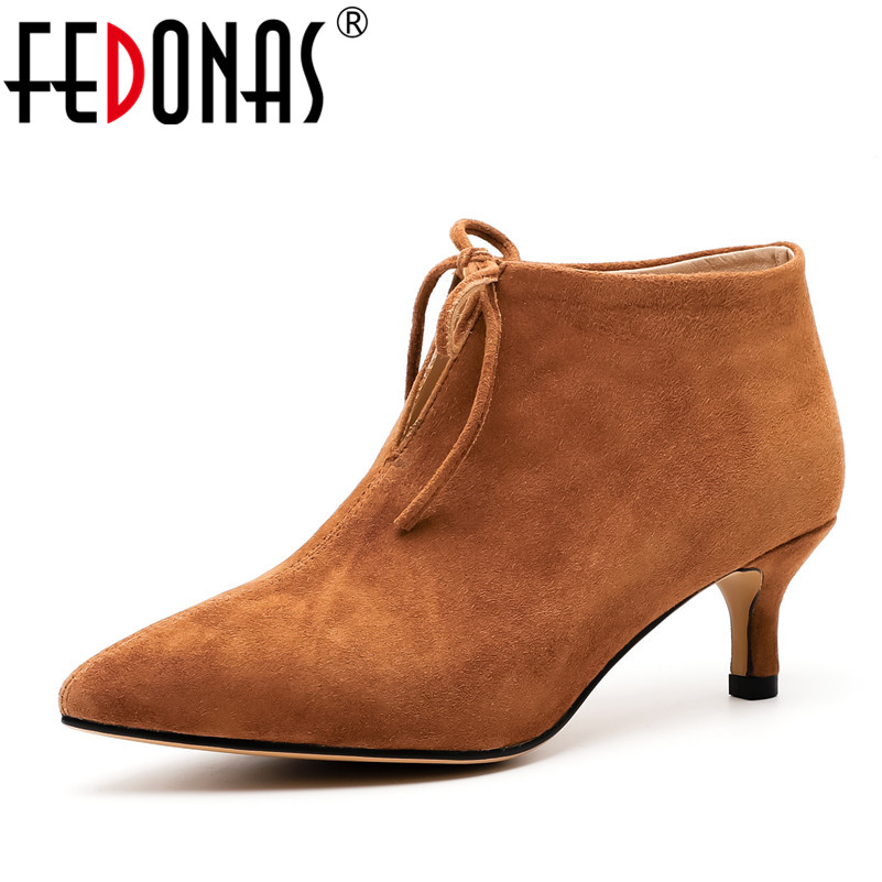 FEDONAS Fashion Women High Heeled Pumps Sexy Pointed Toe Corss-tied Ankle Boots Female Office Pumps Autumn Winter Shoes Woman fedonas women pumps fashion sexy pointed toe lace up high heel women shoes woman retro euro style pumps female autumn new shoes