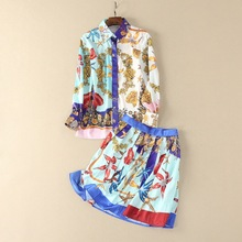 2018 Spring Women's 2 Piece Clothing Set Fashion Women Runway Sets Long Sleeve Print Shirt and Skirt Suit Sets