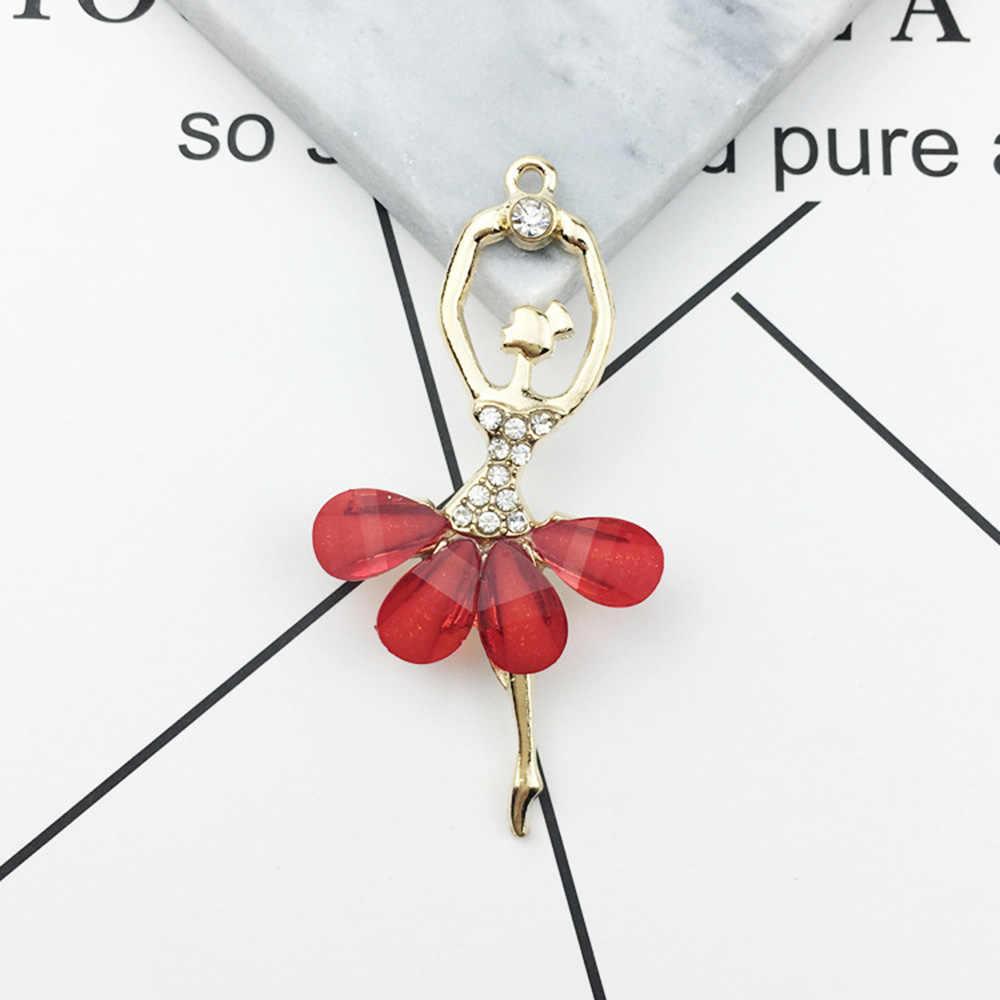 คริสตัลสาวเต้นรำ ballerina charms บัลเล่ต์ dancer จี้สร้อยคออุปกรณ์เสริมวัสดุ DIY เครื่องประดับสร้อยข้อมือ Charm
