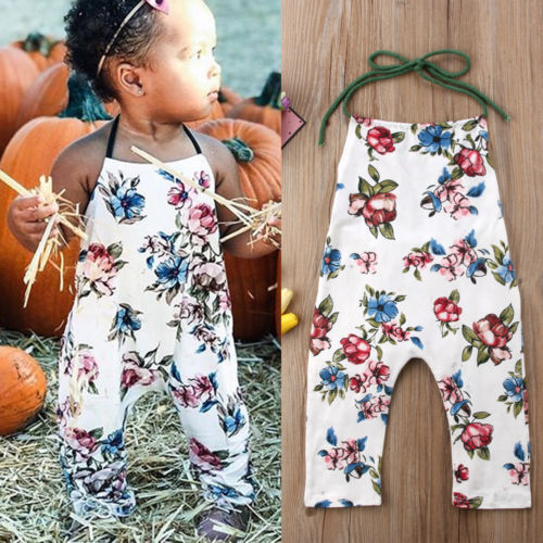 Toddler Baby Girls Flower Romper Jumpsuit Cotton Outfits Rompers Floral Print Sunsuit Sleeveless Clothes Rompers