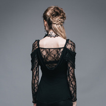 Ladies Black Top With Lace Detail
