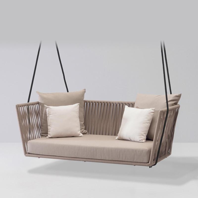New PE Rattan Hanging Chair Swing Indoor Outdoor Adult Hanging Chair Sofa Nordic Balcony Rocking Chair Outdoor Swing Weaving