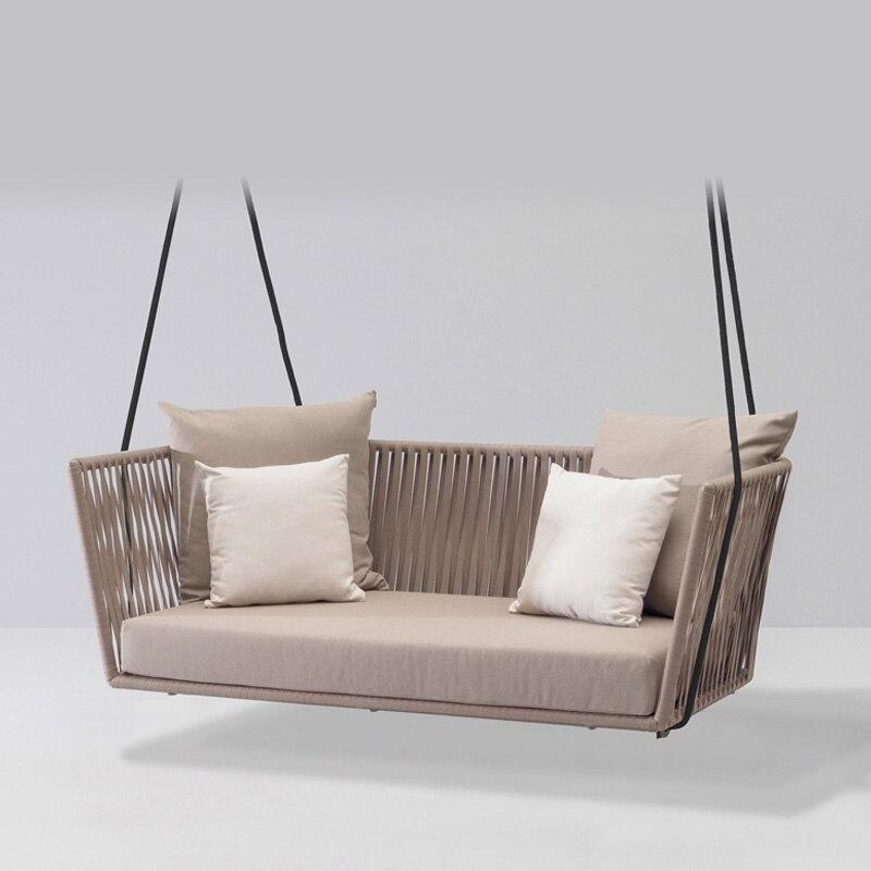 Nouveau PE rotin chaise suspendue balançoire intérieur extérieur adulte chaise suspendue canapé nordique balcon chaise à bascule extérieur balançoire tissage