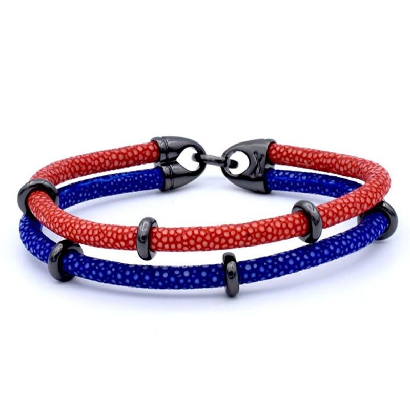 Bracelet en cuir argenté à deux couches en acier inoxydable pour hommes, bracelet en cuir véritable Stingray de luxe en thaïlande - 6