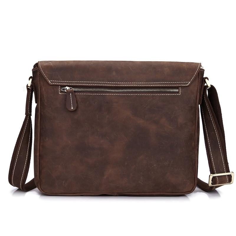 Vintage Retro Style Genuine Crazy Horse Leather Cowhide Crossbody Cross Body Shoulder Handbag Briefcase Messenger Bag LS0224
