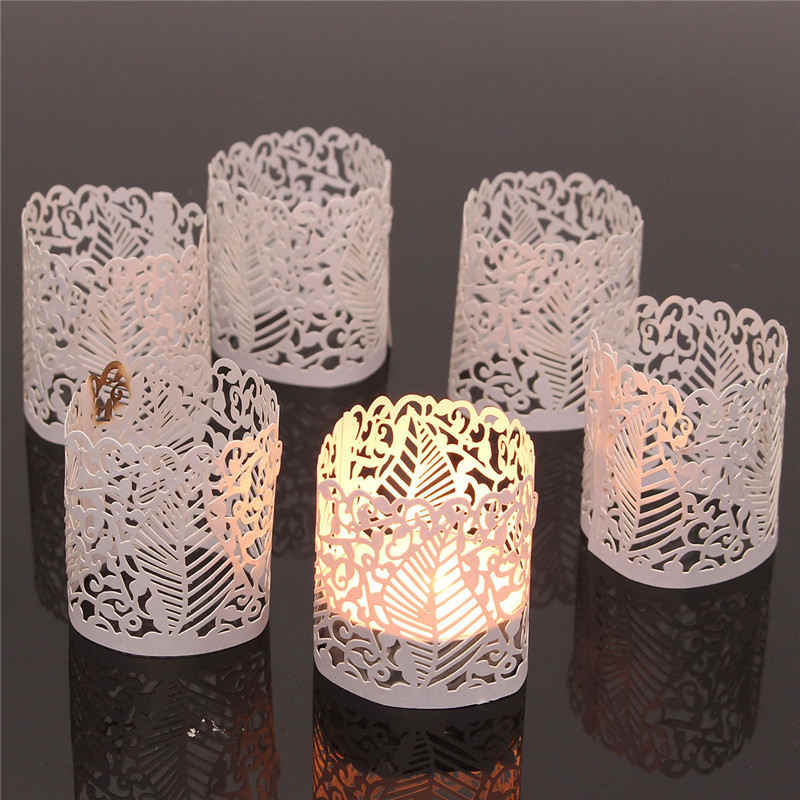 KWarm 6PCS Paper Laser Cut Flower Floral LED Tea Light Holders Lampshade Candle Lamp Christmas Wedding Party Table Home Decor