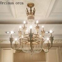 Американский роскошный хрустальная люстра Джейн Ретро французский стиль для лестницы в особняке столовая Европейский сад кристалл лампы