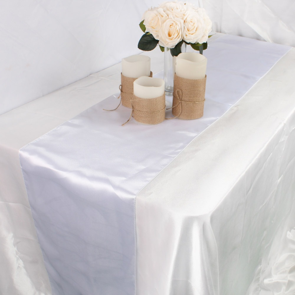 Image 4 - OurWarm 30cm*275cm Wedding Table Runner Satin Table Runners Table Decoration For Home Party Wedding Event Favors Banquet Decor-in Table Runners from Home & Garden