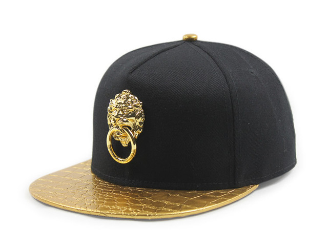 51579921c € 9.76 |Black gold Snake skin metal gold lion logo leather buckle flat brim  snapback gold brim baseball cap hat en de en AliExpress.com | Alibaba ...
