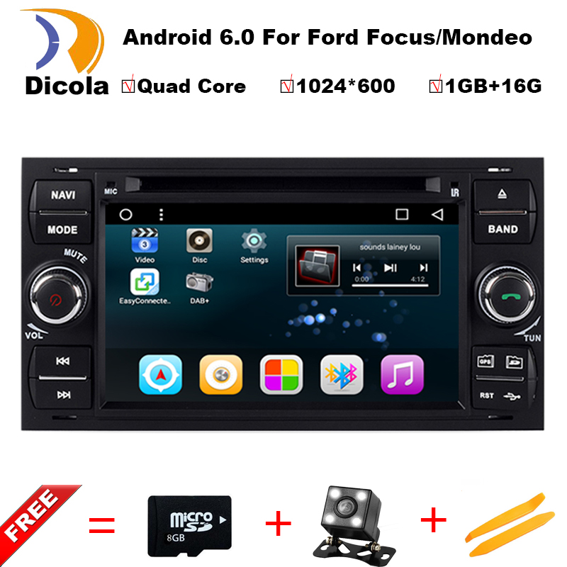 2 din Android 6.0.1 Car DVD GPS for Ford Focus S-max Transit Fiesta Galaxy Fusion Connect Headunit with 3G/WIFI Radio AUX IN/OUT