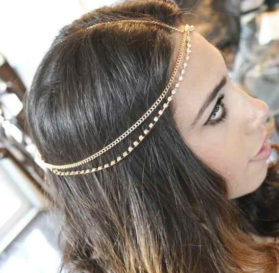 1Pc Fashion Women Lady Metal Gold Silver Multilayer Boho Head Chain Headband Headpiece Bridal Wedding Hairstyle Hair Accessories