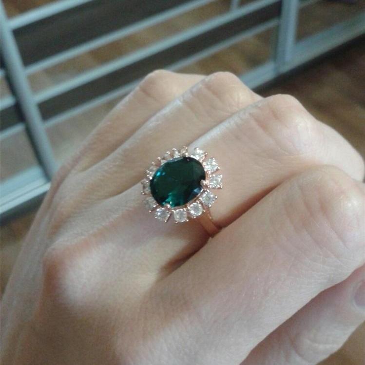 New Visisap Rose Goud kleur ring groene steen Ringen voor vrouwen  &ZY04