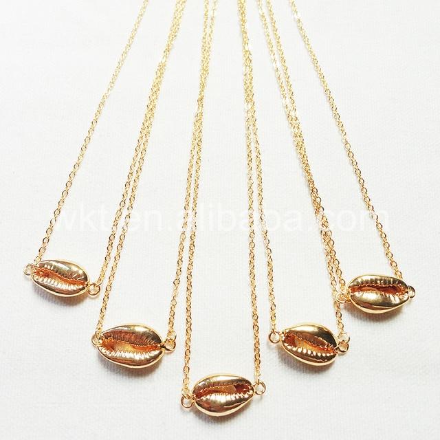 8d19f701a685 WT-JN016 moda oro doble collar colgante collar natural cowrie shell  conector en carcasa dorada