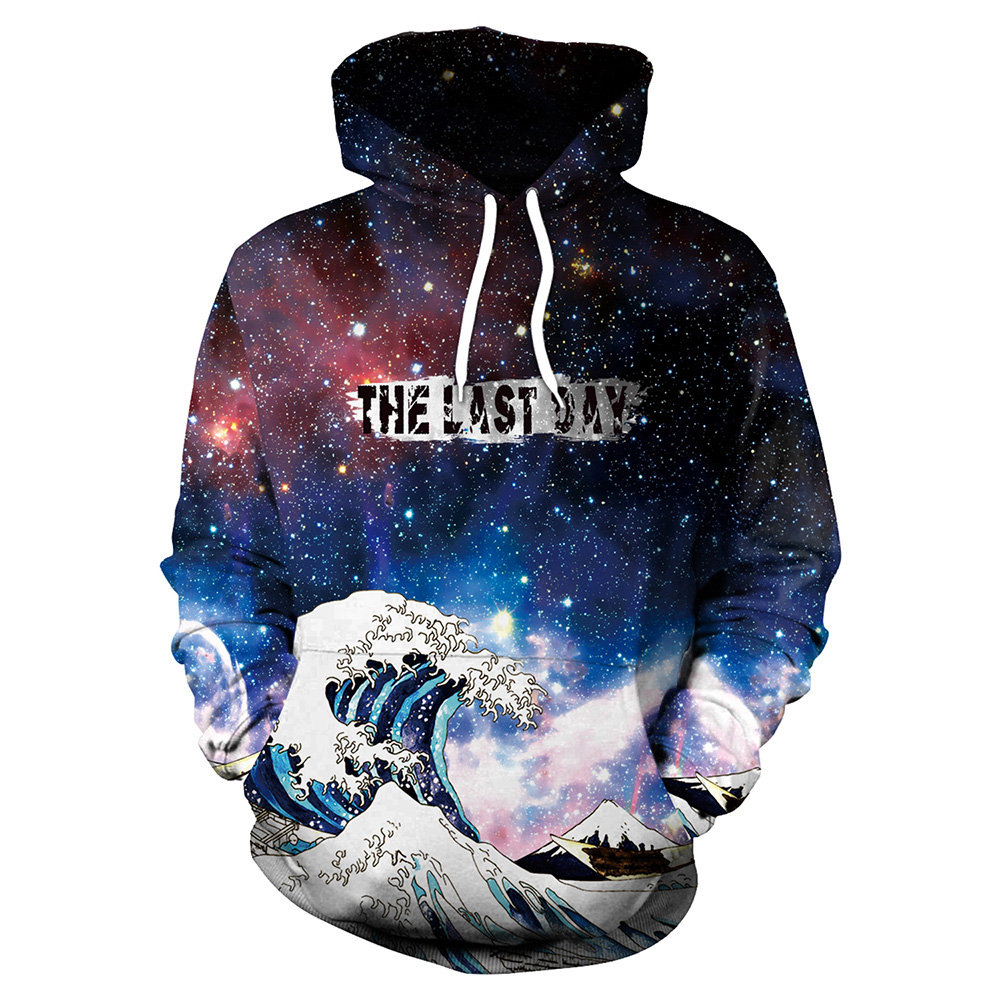 New 072 Galaxy Graffiti Rasta Monkey Elder Printed Women Jacket Hooded Femme Sweatshirt Casual Loose Men Pocket Hoodies Coat Hoodies & Sweatshirts