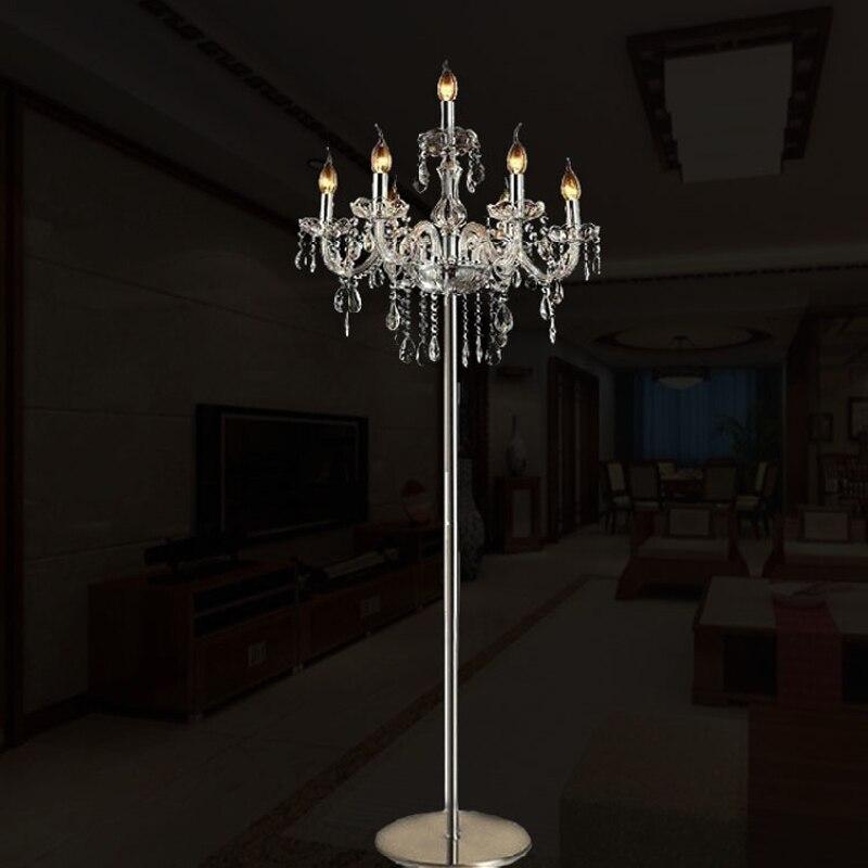Modern zemin lambaları oturma odası için lüks moda kısa romantik başucu k9 kristal zemin lambası ayakta yatak odası için lamba zemin