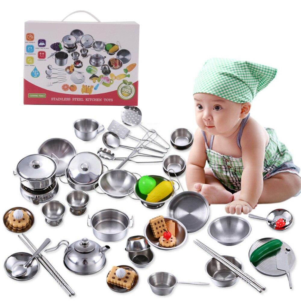 Küche Spielzeug Edelstahl Kochen Töpfe Pfannen Food Kinder Babys Geschenke Mini Pretend Werkzeuge Set Simulation Spielen Haus pädagogisches