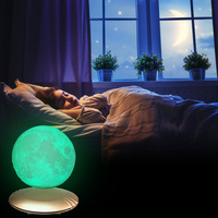 7 Color Changing 3D Print Levitating Moon Lamp DC12V Rechargeable Night Light Home Decoration 3D Lunar Moon Light Creative Gift
