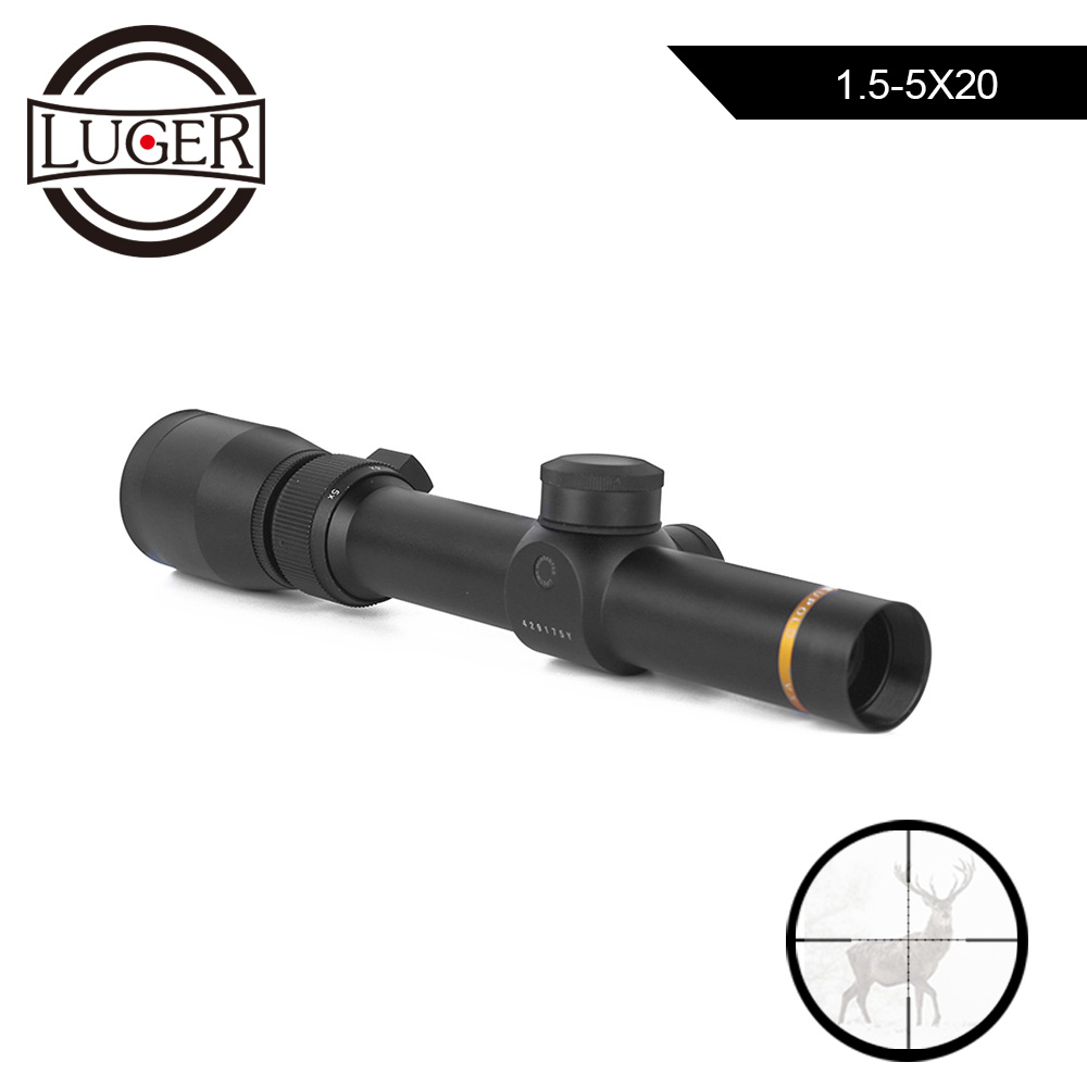 LUGER Hunting Scope 1.5-5X20 Tactical Optics Riflescope Mil-dot Illuminated Reticle Rifle Scopes For Rifles Airsoft Air GunsLUGER Hunting Scope 1.5-5X20 Tactical Optics Riflescope Mil-dot Illuminated Reticle Rifle Scopes For Rifles Airsoft Air Guns