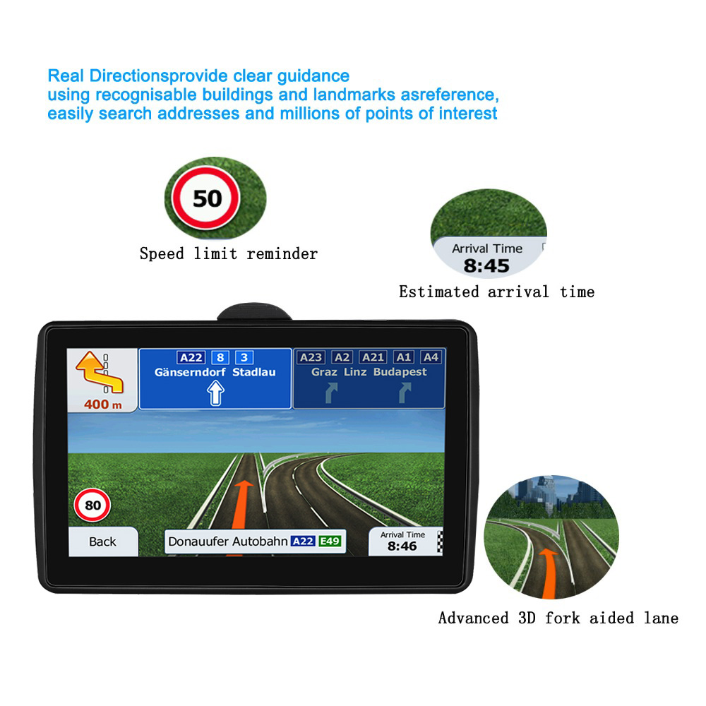Car 7 inch blue side navigation GPS LCD screen FM Navitel satellite navigation truck GPS Navigator