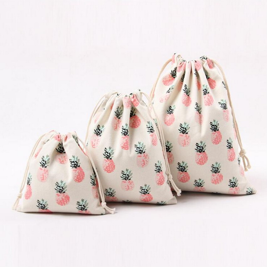 LIXUN 3PCs/Set Pineapple Women Bag Drawstring Bag Casual Canvas Printing Travel Storage Bag School Bags For Girls Bolsa Feminina