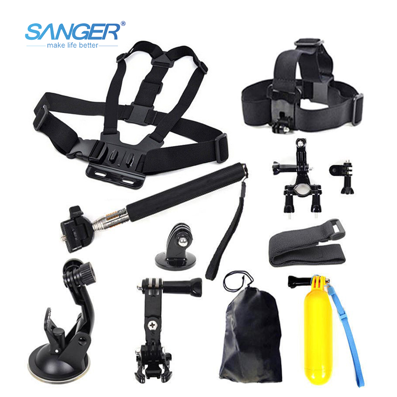 SANGER for Gopro Accessories AEE Head Chest Mount Floating Monopod for Xiaomi Yi Action Camera Go