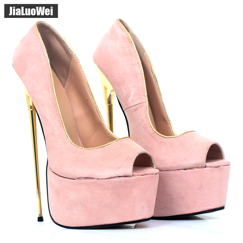 jialuowei Brand 2018 New Women Peep Toe Pumps 22CM Super High Heel Platform Sexy Gold Metal Heels Party Nightclub Shoes цена