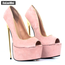 jialuowei Women Peep Toe Pumps 22CM Super High Heel Platform Sexy Gold Metal Heels Party Night club Shoes Ladies Brand 2019 New dorisfanny night club super sexy high heel pumps party shoes for women rainbow color changing women wedding shoes