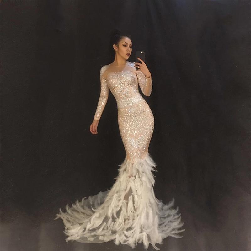 Robe longue femme plumes blanches perles scintillantes strass robes de fin de bal Costume chanteur Star Performance porter DJ