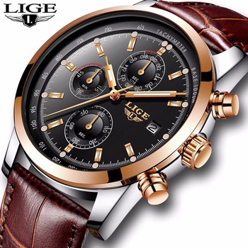 LIGE Mens Watches Top Brand Luxury Leather Casual Quartz Watch Men Military Sport Waterproof Clock Gold Relogio Masculino - discount item  70% OFF Men's Watches