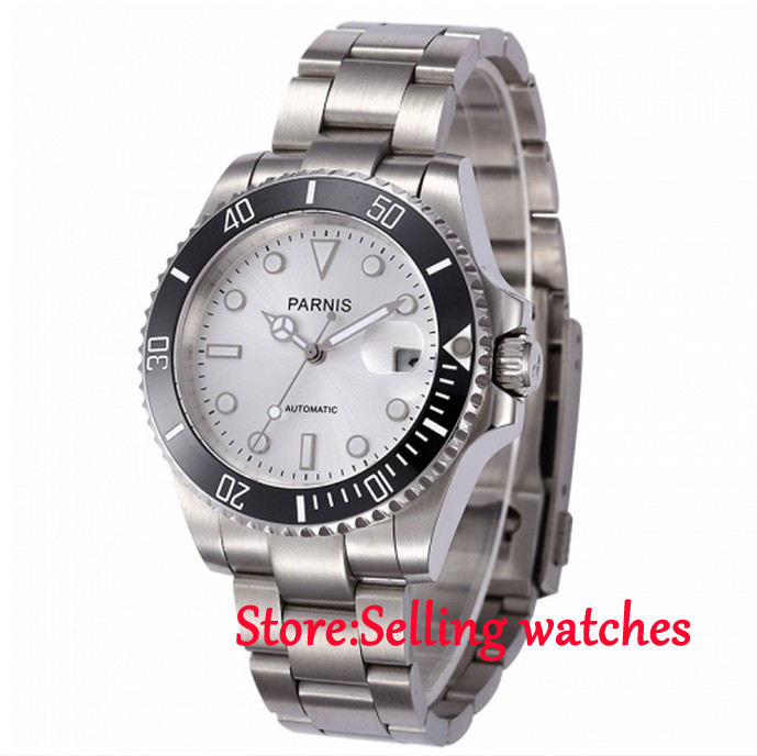 40mm parnis white dial automatic miyota movement sapphire glass mens watch in mechanical watches for Auto movement watches