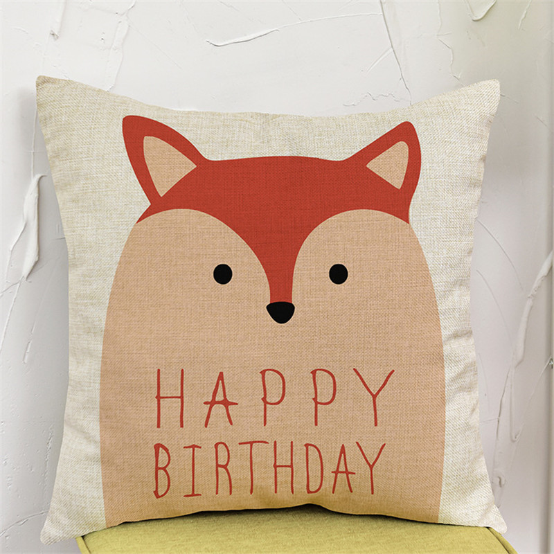 Cartoon animal funny cute Pillow case Cushion Cover chair sofa seat Home house party Decoration happy birthday for children gift