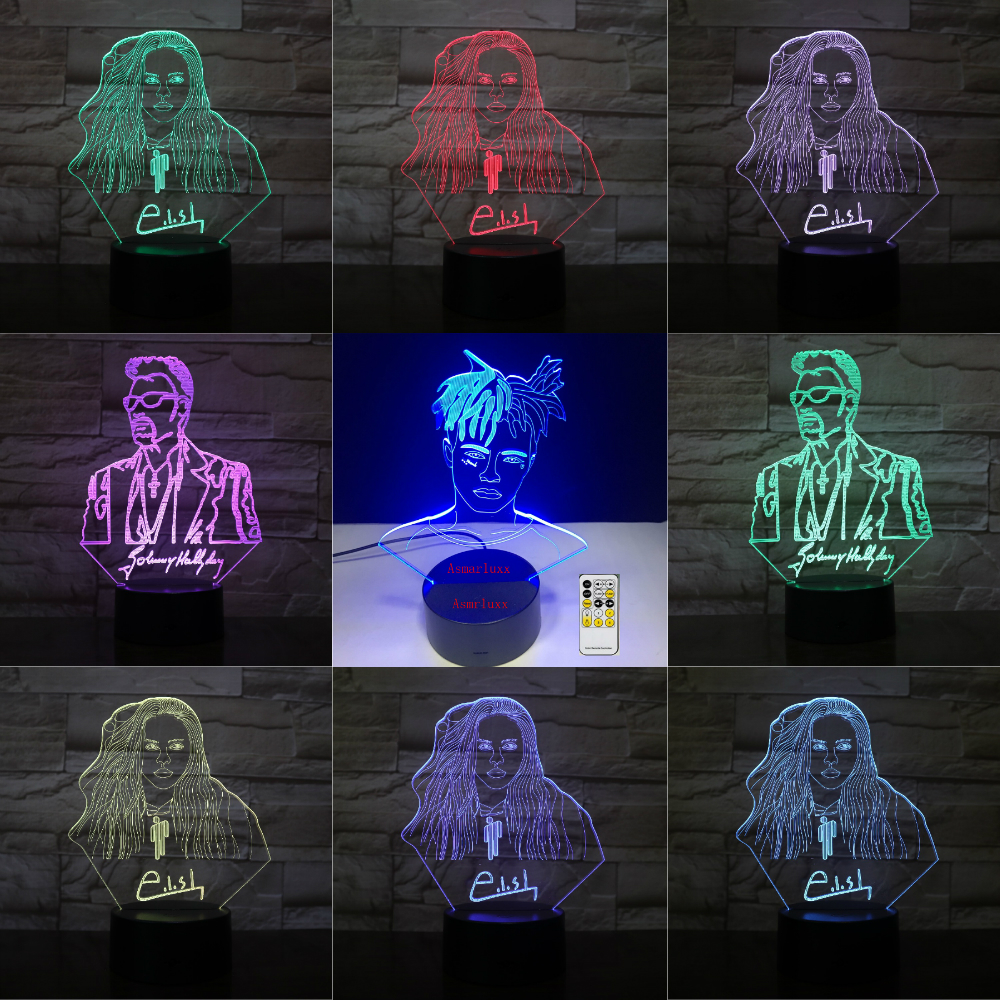 Billie Eilish Johnny Hallyday MJ 3D LED Lamp Illusion Bedside USB Touch RGB 7 Color Changing Freddie Mercury Singer Friend Gifts