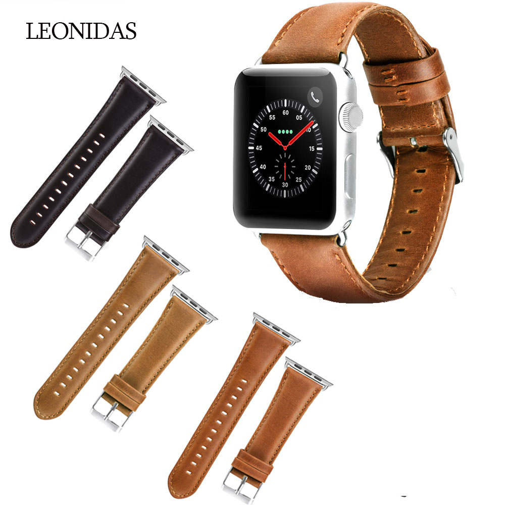 LEONIDAS New Genuine Leather Band For Apple Watch 3 2 1 42MM 38MM First Layer Cattle Leather Strap Brown Coffee Color BraceletLEONIDAS New Genuine Leather Band For Apple Watch 3 2 1 42MM 38MM First Layer Cattle Leather Strap Brown Coffee Color Bracelet
