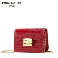 EMINI HOUSE Lizard Pattern Genuine Leather Women Shoulder Bag Fashion Crossbady Bags High Quality Women Messenger