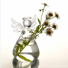 Betty Store Free Shipping Mini Glass Angel Vase Clear Glass Material Angel Hanging Glass Angel Home Decoration