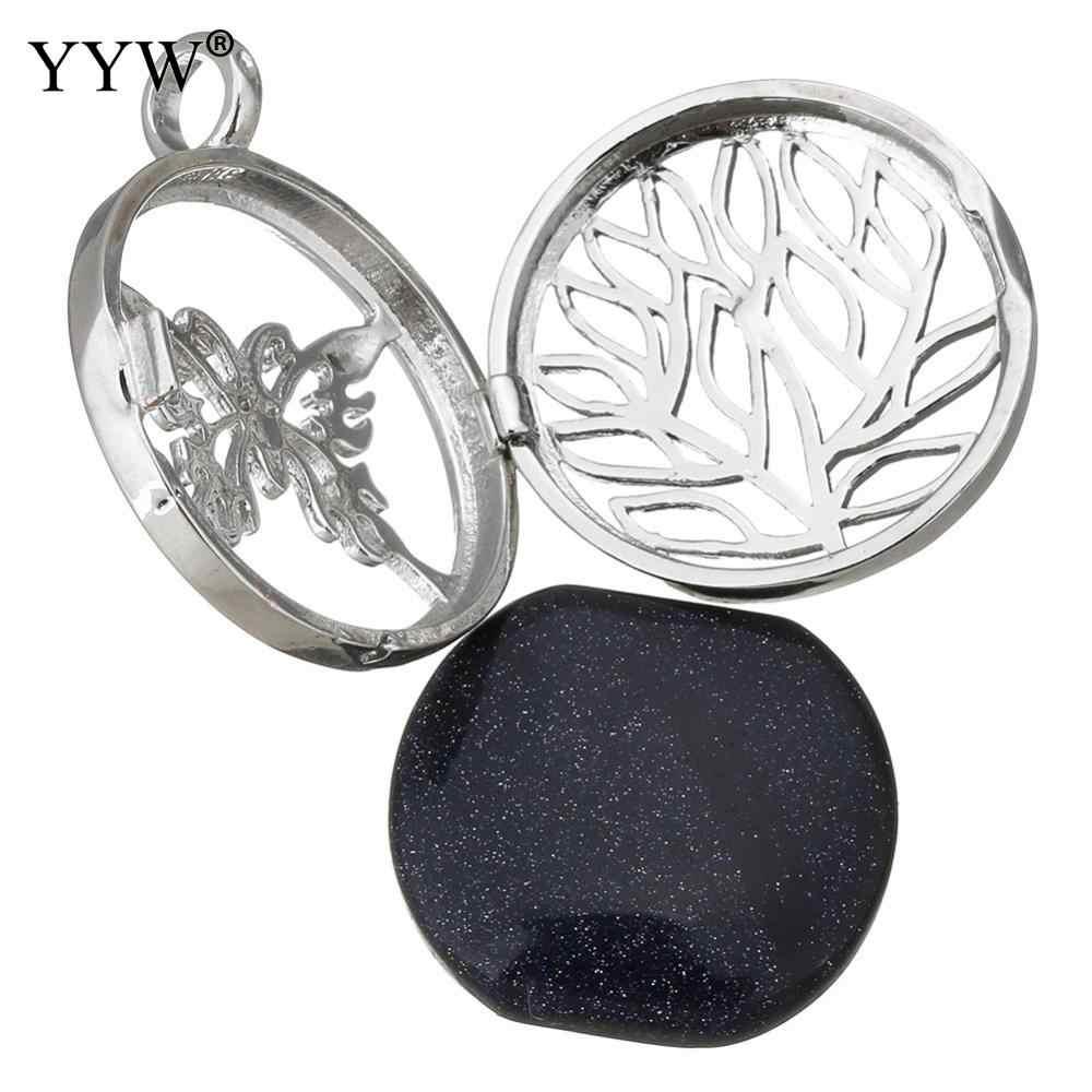YYWธรรมชาติอัญมณีหินS Liceเสน่ห์จี้เครื่องประดับเงิน-สีกลวงใบผีเสื้อล็อกเกตทะเลโอปอลAmethystsจี้หิน