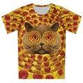 Детей новые 3D футболка голубое небо животного пицца галактики лев кошка печать футболка с коротким рукавом две стороны печать девочка мальчик свободного покроя ти топы
