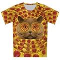 Crianças 3D de céu azul do Galaxy leão Animal gato impressão de manga curta dois lado de impressão Casual t-shirt Tops