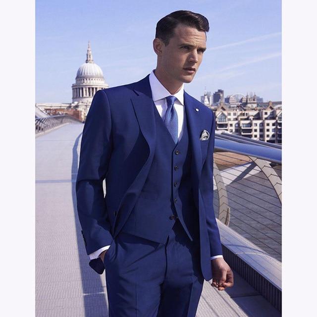 2017 nouveau costume homme Bleu Royal De Mariage Costumes 3 Pièces Costumes  Pour Hommes Slim Fit