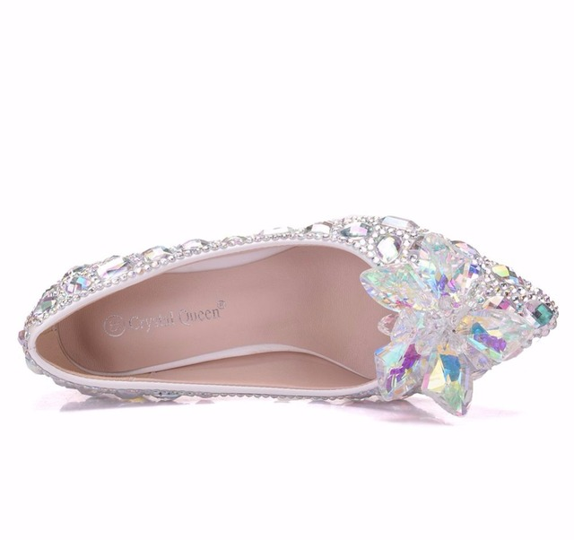 Crystal Queen High Heel Pointe Toe Women Wedding Shoes With Matching Bags Bride Payty Dress Shoes Purse Crystal Flower 5CM Pumps