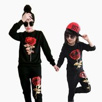 Mom And Daughter Clothes Set Stylish Long Sleeve Floral Sequined T Shirt Pant 2 Pcs Family