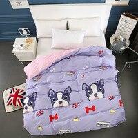 100% Cotton Modern Fashion Bedding Cute Cartoon Purple Puppy Printing Pattern Single Product Quilt Large Size 220x240cm
